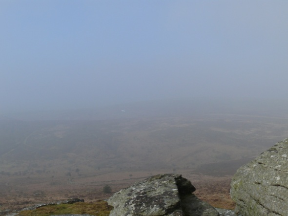 Top of Birch Tor, you can just make out the white building which is the Warren House Inn