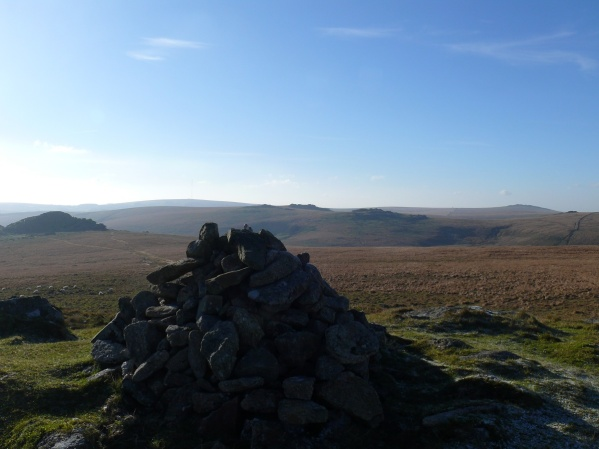 Higher White Tor summit with Longaford Tor left, far right is Great Mis Tor