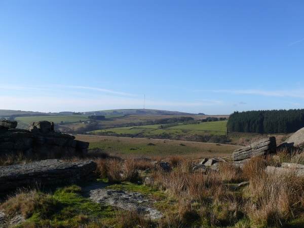 The view to North Hessary Tor and the mast from Crockern Tor