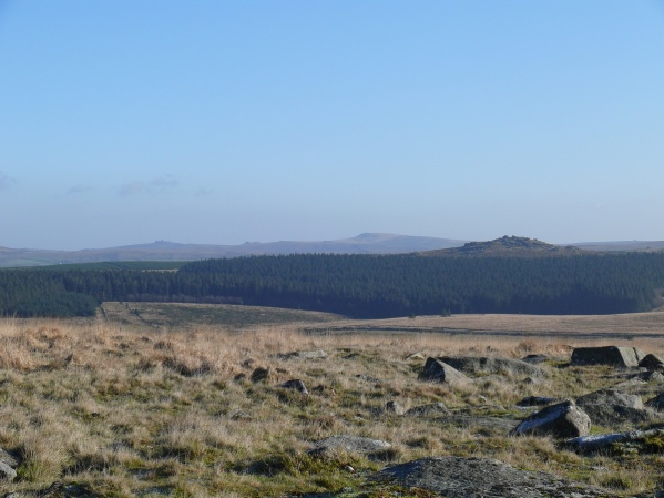 Bit of zoom to Bellever Tor, where we were last month, with Haytor in the distance
