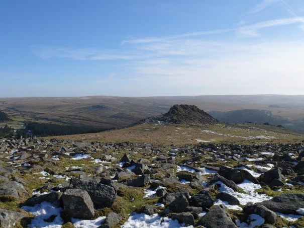 And looking down to Leather Tor our next stop from the same place
