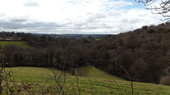 Looking back with the River Avon in the trees below