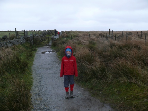 All wrapped up at the start of the path out of Princetown