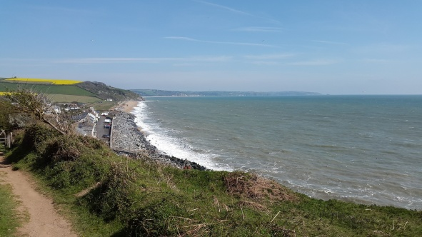 Climbing the coastal path with views back to Beesands