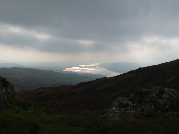 The cloud is lifting as we leave the summit of Wansfell Pike