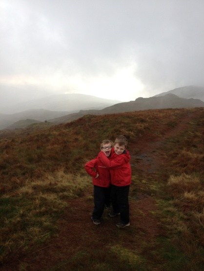 The boys by the true summit (Baystones) as the cloud clears a little.