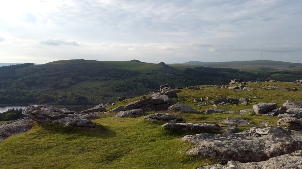 Sheeps Tor summit looking across to Leather Tor and Peek Hill