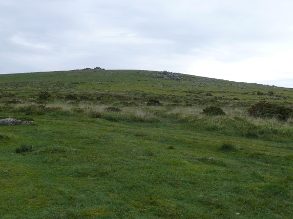 Looking up to Little Staple Tor from the car park