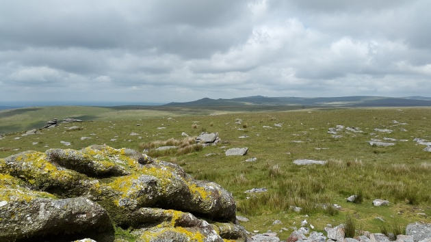 The ridge to Great Links Tor from Lynch Tor