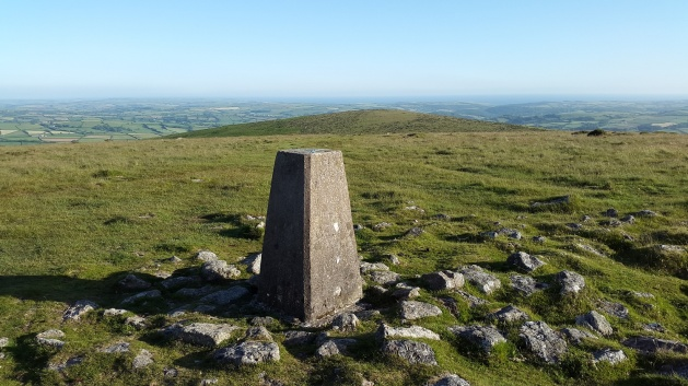 Butterdon Hill trig with Western Beacon behind