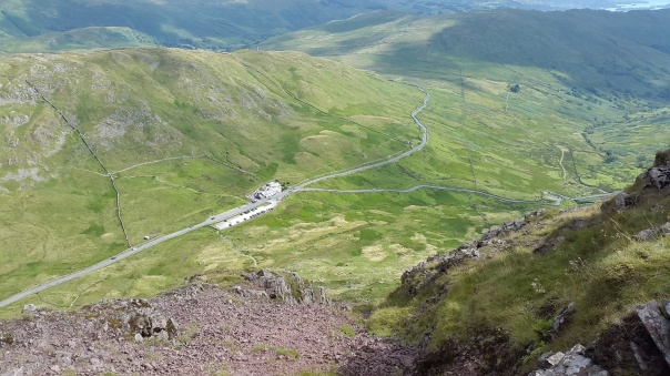 Looking back down the chimney to the pub and the Kirkstone pass