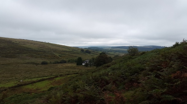 Looking back to the farm as I climb Stannon Tor