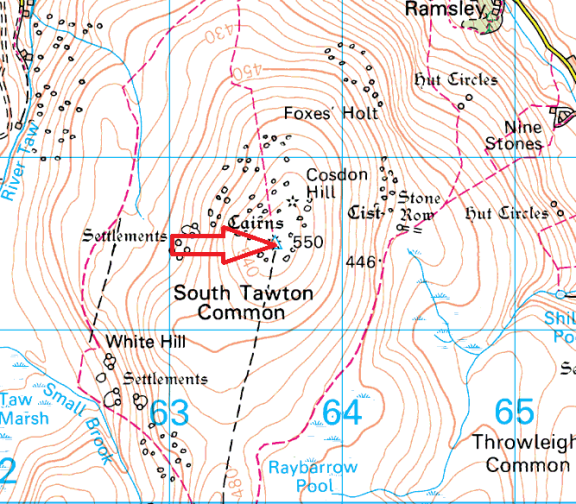 cosdon-hill-map