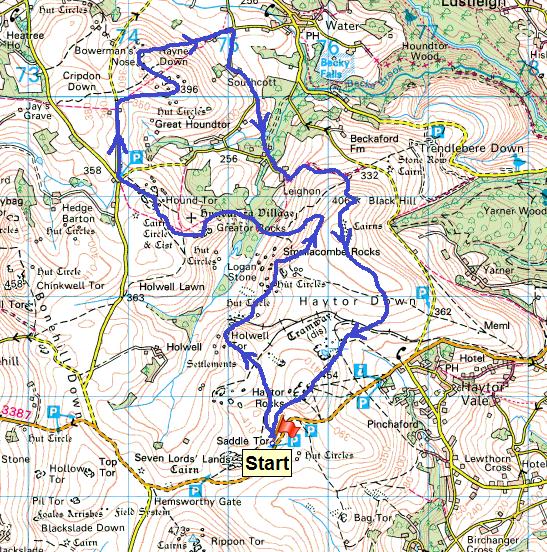 Hound Tor map