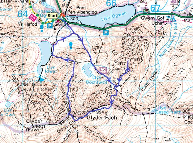 Glyder Fach map